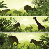 African Banners with Animals. High Resolution JPG,CS5 AI and Illustrator EPS 8 included. Each element is named,grouped and layered separately.