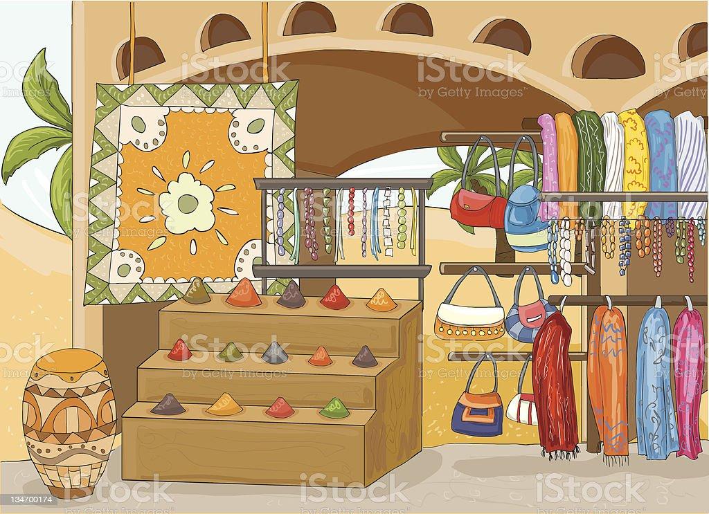 Bazar africano - ilustração de arte em vetor