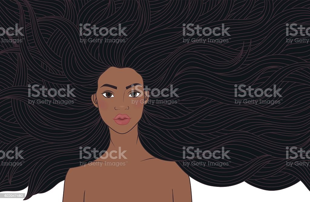 African beauty girl vector art illustration