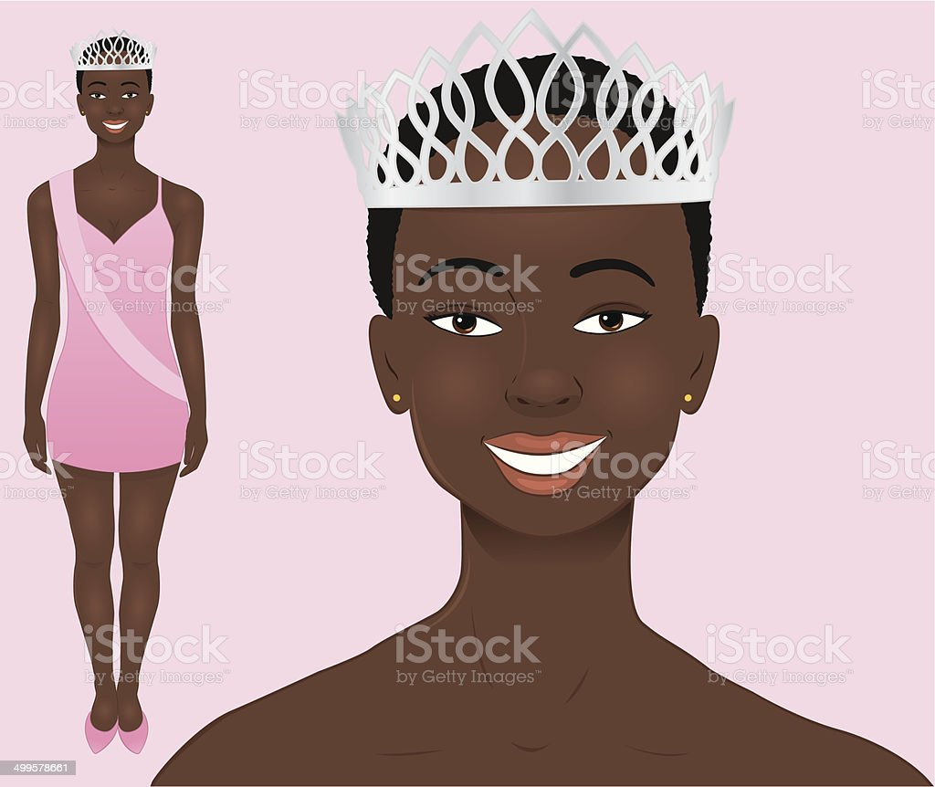 African Beauty Queen vector art illustration