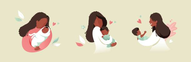ilustrações de stock, clip art, desenhos animados e ícones de african black mother holding baby son or daughter in her arms - breastfeeding
