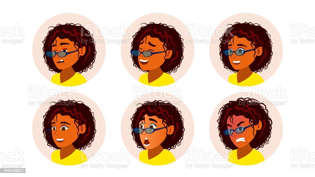Femme Noire Africaine Avatar Vector Visage De Femme Afroamericaine