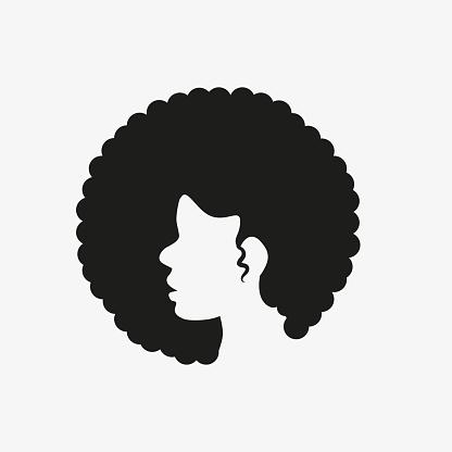 African black woman icon logo vector.