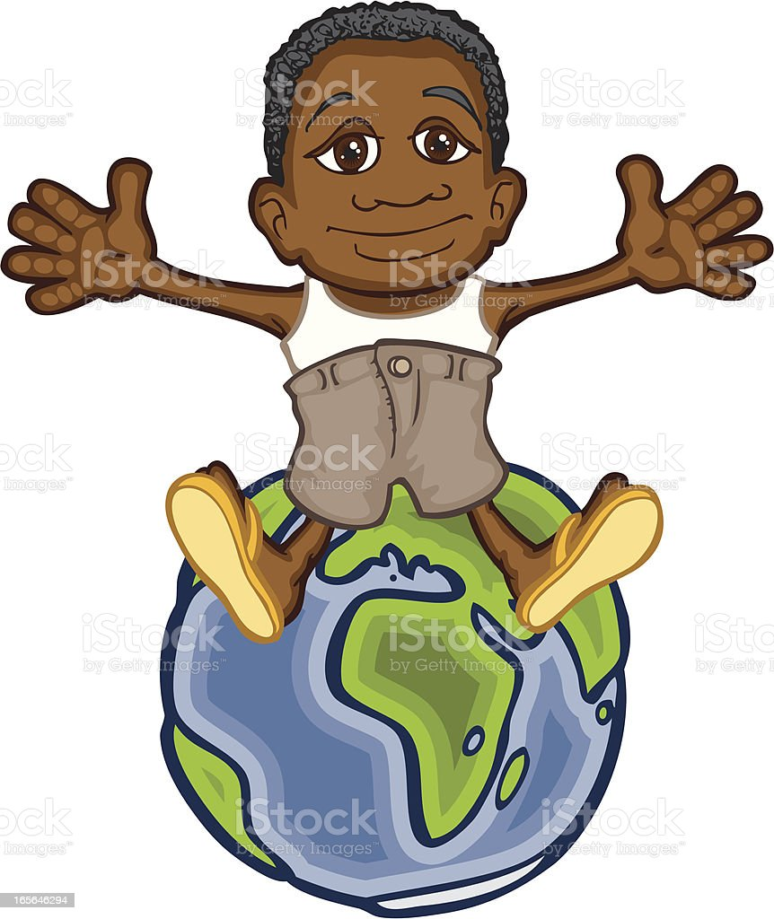 African Boy on Globe royalty-free stock vector art