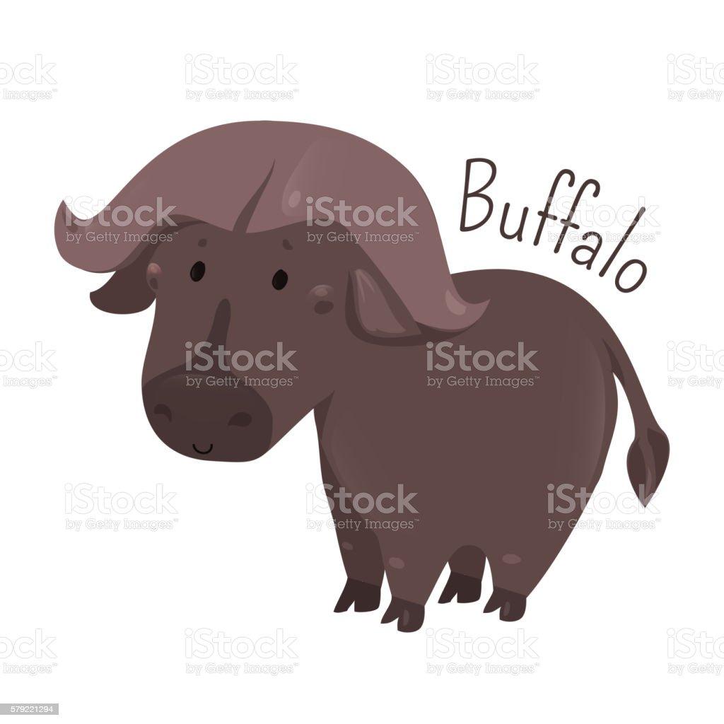 African buffalo. Child fun pattern icon. vector art illustration