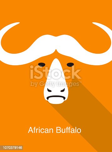 African Buffalo face flat icon design, vector illustration