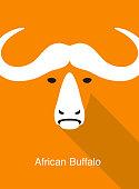 African Buffalo face flat icon design, vector illustration