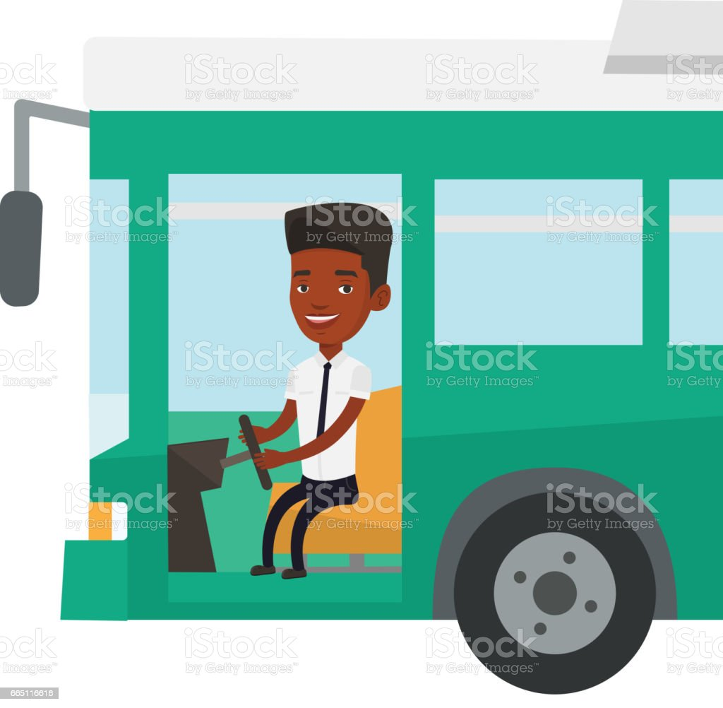 African bus driver sitting at steering wheel vector art illustration