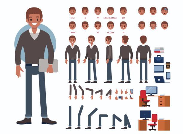 afrykański biznesmen - grupa przedmiotów stock illustrations