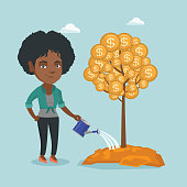 Young african-american business woman watering money tree with gold coins what symbolizes money investment in business project. Business investment concept. Vector cartoon illustration. Square layout.