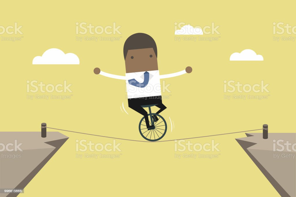 非洲商人在繩子上保持平衡。向量藝術插圖