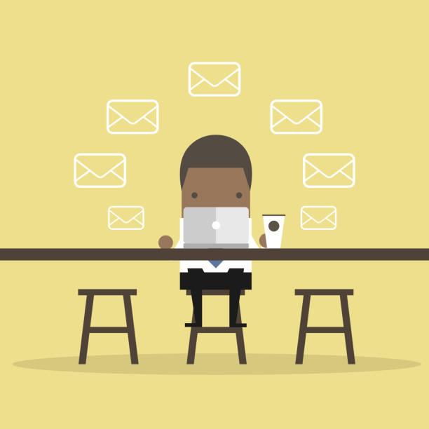 bildbanksillustrationer, clip art samt tecknat material och ikoner med afrikansk affärs man kontrollerar e-postmeddelanden på coffee shop. - man architect computer