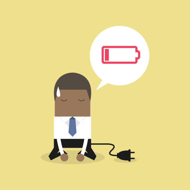 African businessman feeling tired and low battery. African businessman feeling tired and low battery. exhaustion stock illustrations