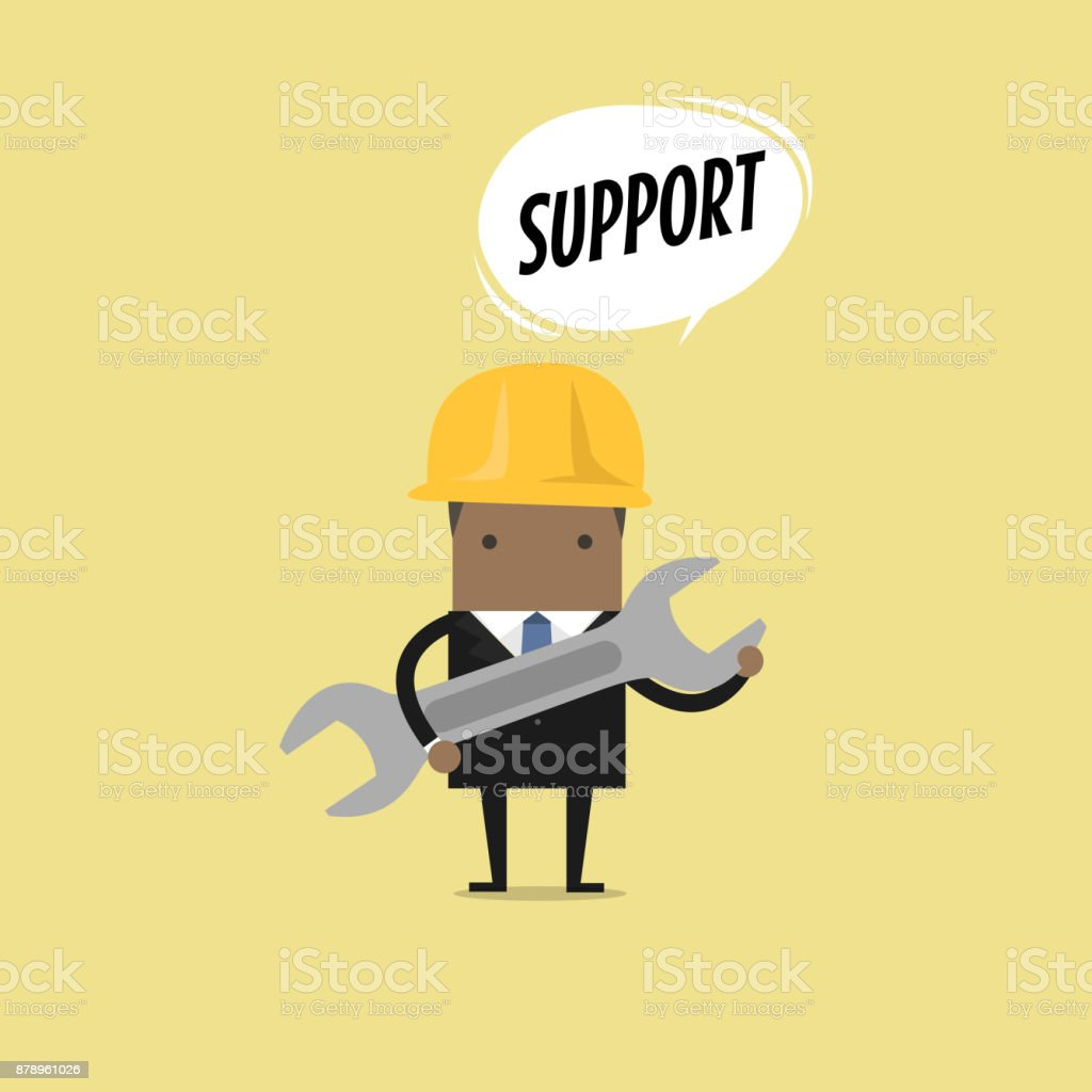 African businessman holding a wrench with balloon text support. vector art illustration