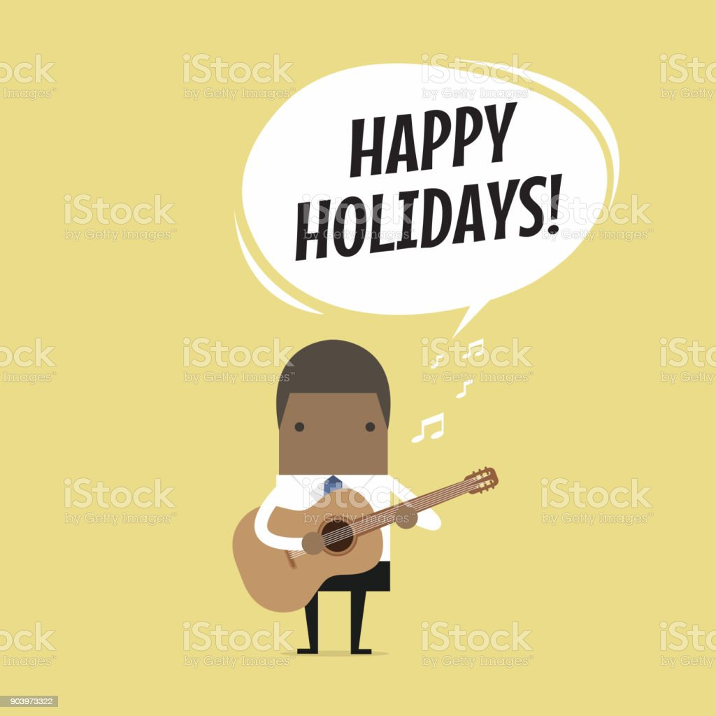 African businessman is playing a guitar and sing Happy Holidays. vector art illustration