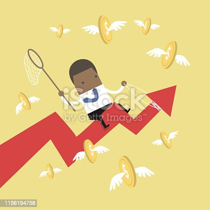 African businessman riding success arrow graph catch flying coins.