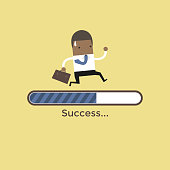 African businessman run on progress loading bar, Success concept