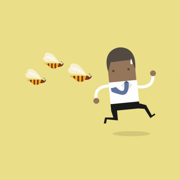 African businessman running away from dangerous insects. African businessman running away from dangerous insects. swarm of insects stock illustrations