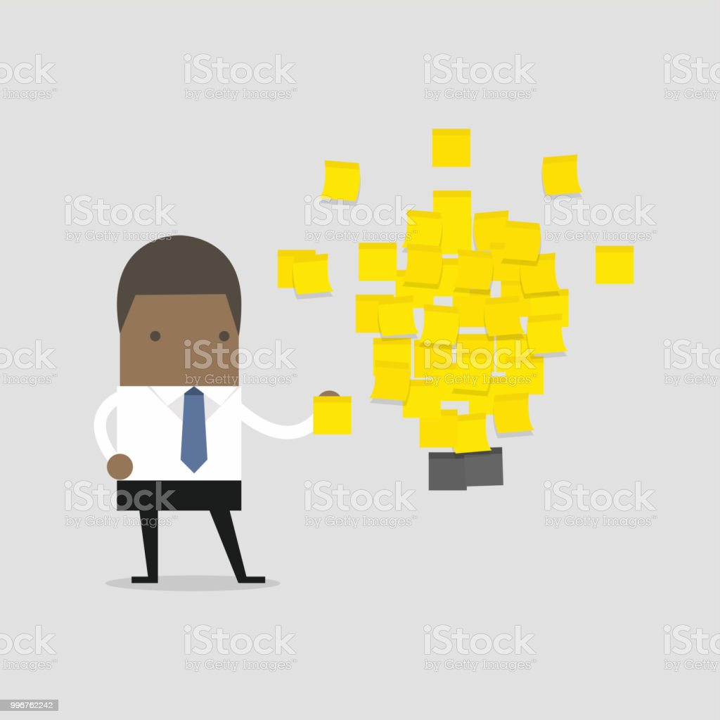 African businessman with a lot of stickers with ideas on the wall. Business project, ideas. vector art illustration