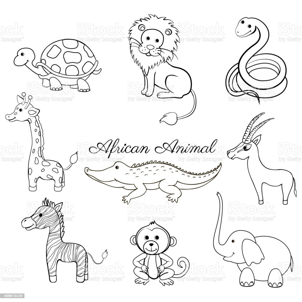 Afrikanische Cartoon Tiere Schildkröte Giraffe Löwe Zebra Krokodil ...