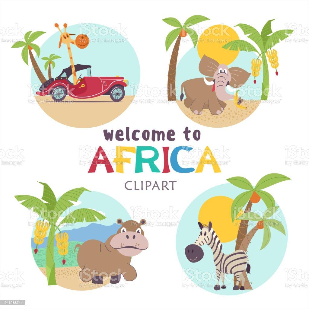 Animais africanos dos desenhos animados. - ilustração de arte em vetor