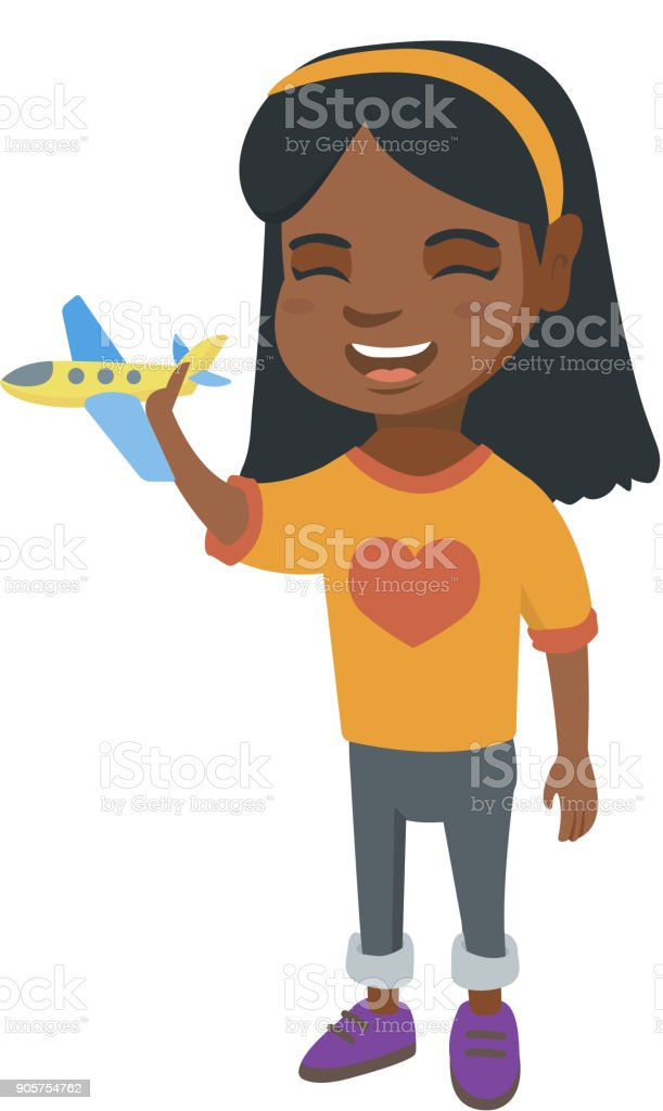 African Cheerful Girl Playing With A Toy Airplane Stock