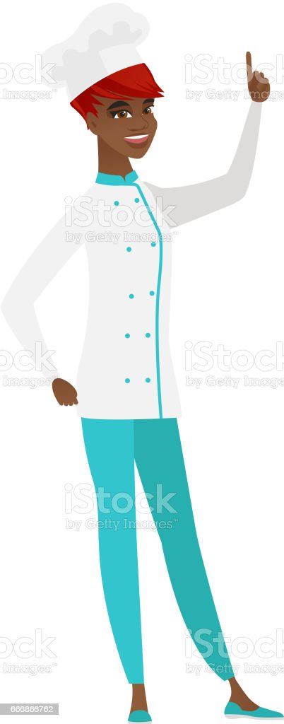 African chef cook pointing with her forefinger