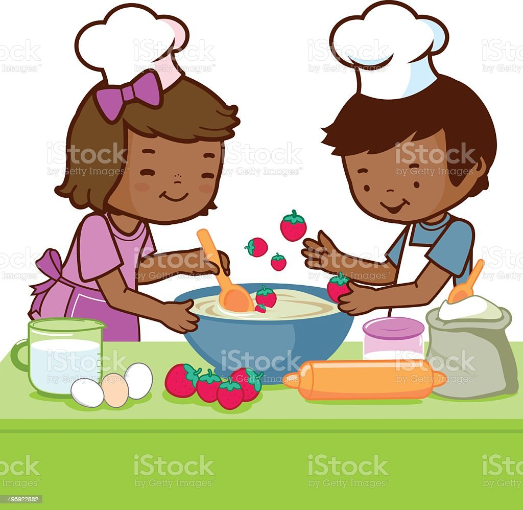Play kitchen clip art - African Children Cooking In The Kitchen Royalty Free Stock Vector Art