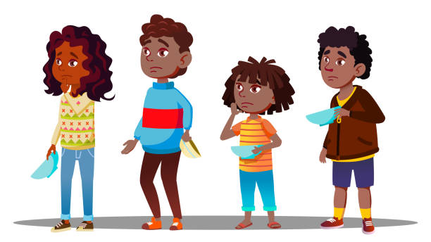 African Children Waiting In Line With Empty Plates For Social Dinner Vector. Isolated Illustration African Children Waiting In Line With Empty Plates For Social Dinner Vector. Illustration hungry child stock illustrations