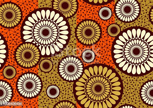 African circle fabric pattern, picture art and abstract background.