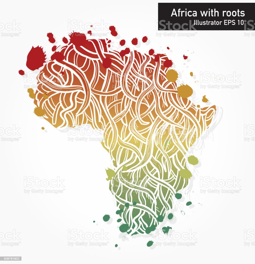 African Continent With Intricate Roots Design Royalty Free Stock