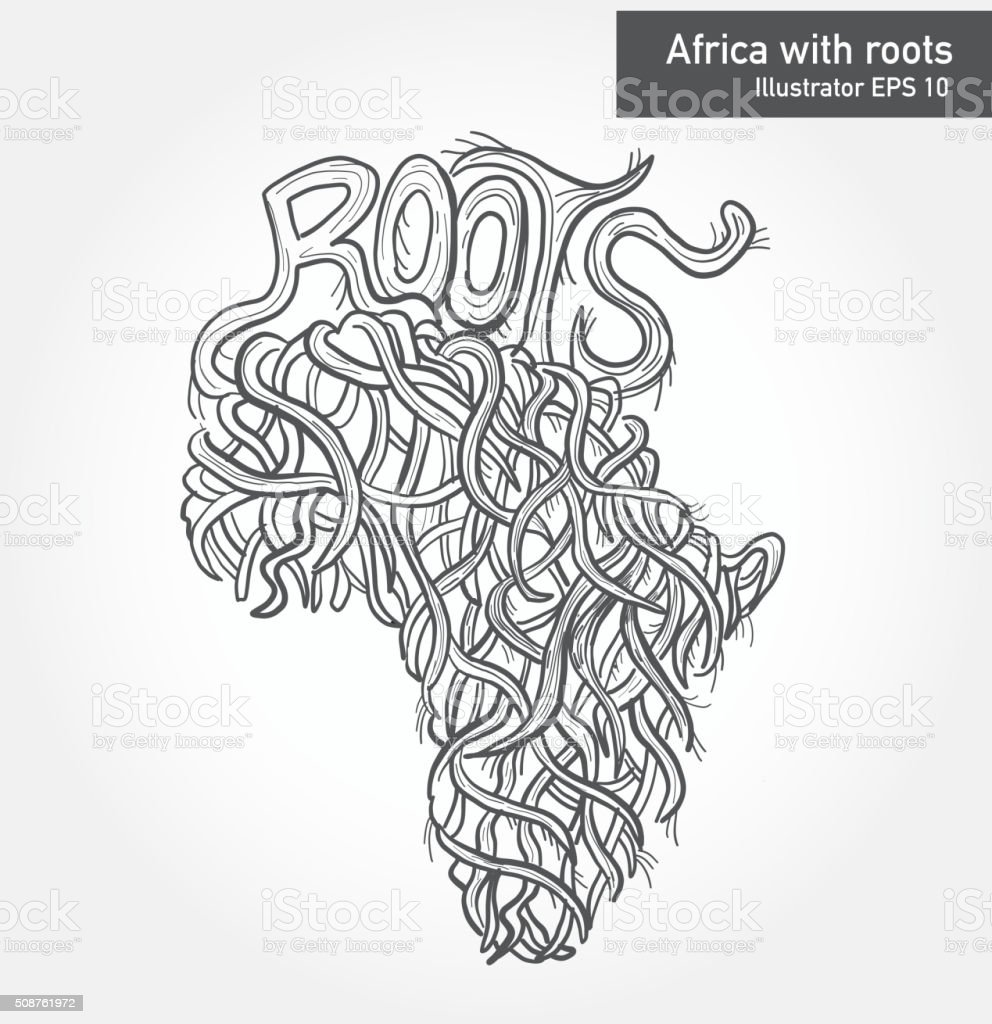 African continent with intricate roots design vector art illustration