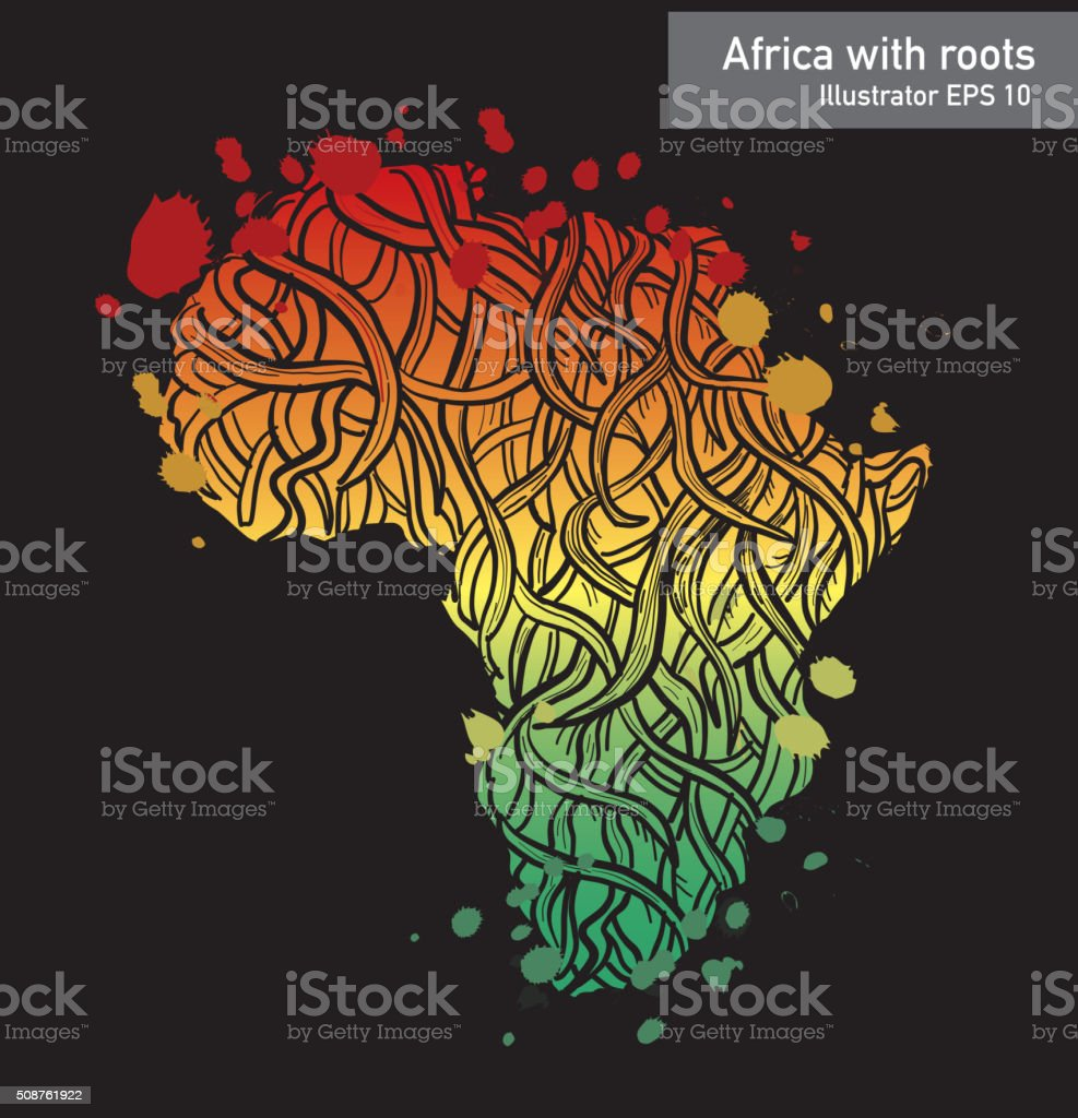 African contintent with intricate roots design vector art illustration