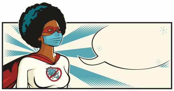 African Coronavirus Superhero vector art illustration