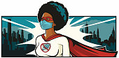 Comic book style pop art illustration of a black superhero doctor fighting the good battle against the Coronavirus, or Covid-19.