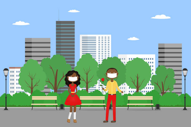African couple in face masks on date in park. Vector illustration African couple in face masks on date in park. Vector illustration. african american valentine stock illustrations