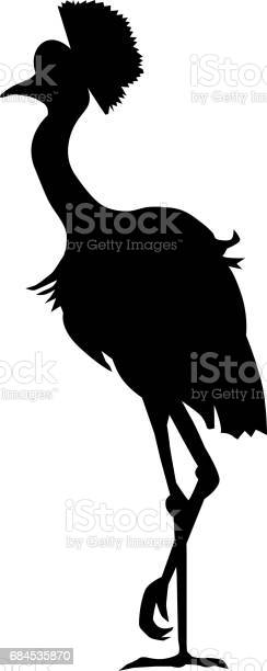 silhouette of African crowned crane