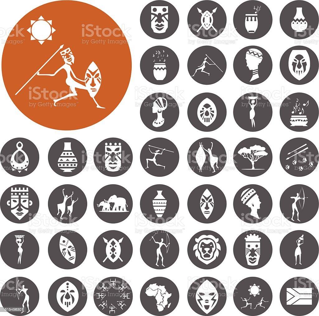 Afrikanische Kultur Icons set.  Vektor-Illustration eps10 – Vektorgrafik
