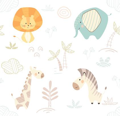 African cute animal pattern