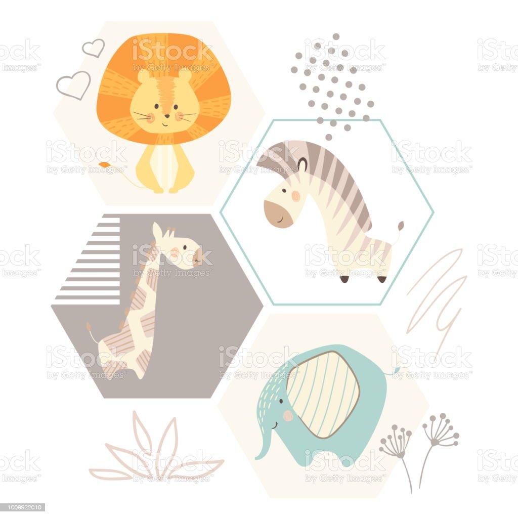 African cute animal print