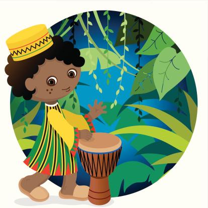 African cute drum boy
