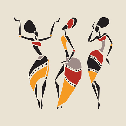 African dancers silhouette set