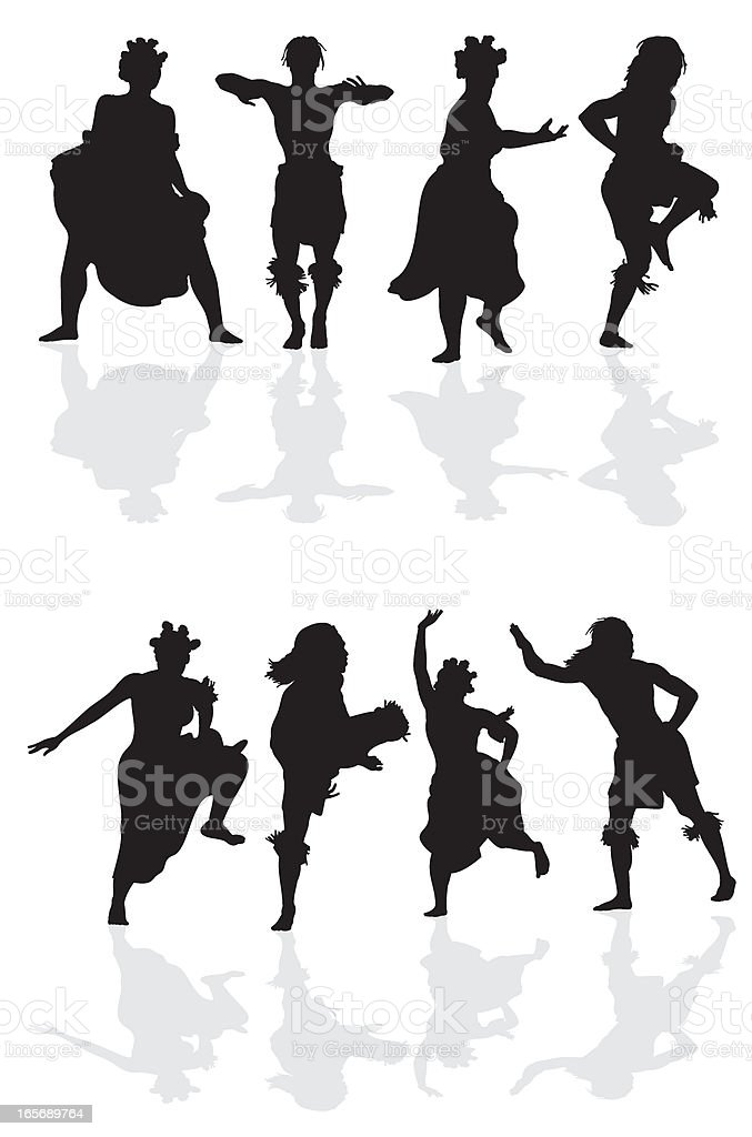 african dancers silhouette royalty free stock vector art