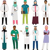 African black doctor and arab woman nurse characters vector isolated on white background