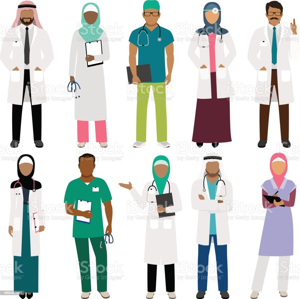 African doctor and arab nurse characters vector art illustration