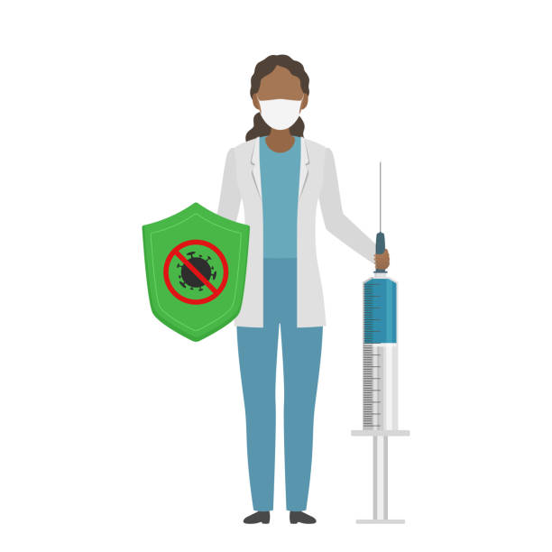 African doctor hold shield and syringe with COVID-19 vaccine. Cartoon style. Vector illustration African doctor hold shield and syringe with COVID-19 vaccine. Cartoon style. Vector illustration. covid vaccine stock illustrations