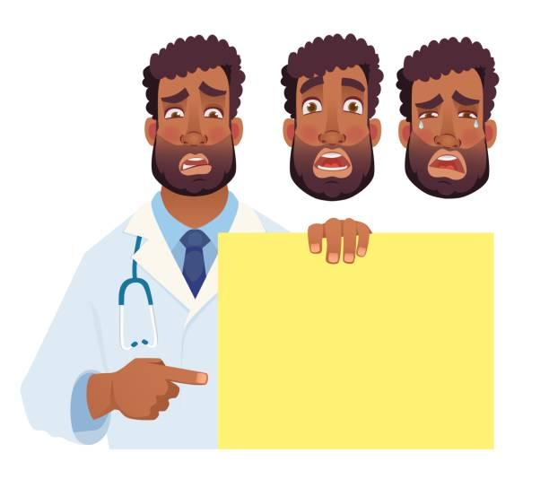 African doctor holding blank banner. Doctor vector illustration. Set African doctor holding blank banner. Doctor vector illustration. Set medico stock illustrations