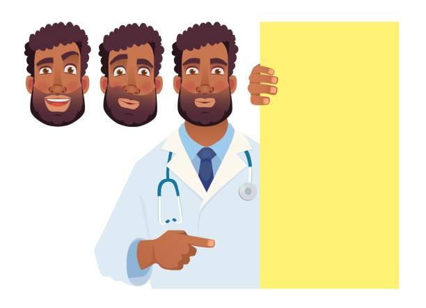 African doctor holding blank banner - set 003 African doctor holding blank signboard. Doctor vector illustration set medico stock illustrations