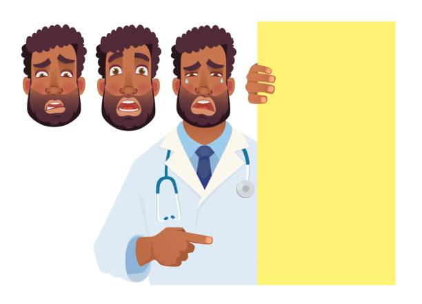 African doctor holding blank signboard. Doctor vector illustration set African doctor holding blank signboard. Doctor vector illustration set medico stock illustrations