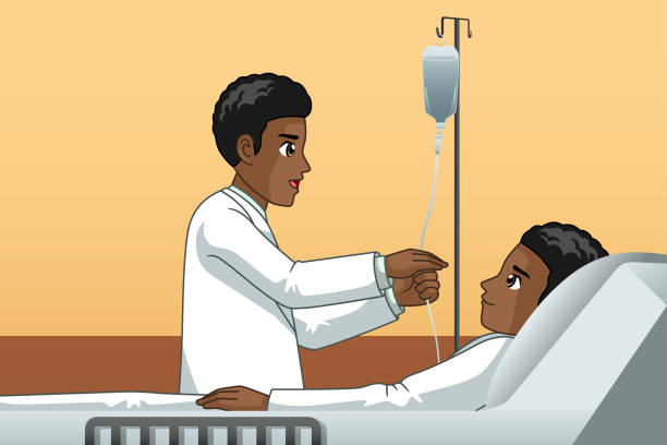 African Doctor With a Patient Illustration vector art illustration